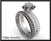 Black Ring Jewelry Originals - Black And White Diamond 14k Halo Wedding Ring And Engagement Ring Set by Roi Avidar