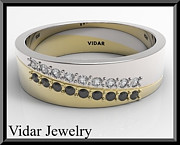 Black Ring Jewelry Originals - Black And White Diamond 14k Yellow Gold Mens Wedding Ring by Roi Avidar