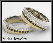 Band Jewelry Originals - Black And White Diamond 14kt Yellow And White Gold Wedding Band Set by Roi Avidar