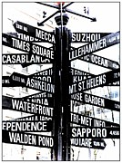 Street Signs Digital Art Posters - Black and White Directions  Poster by Cathie Tyler