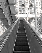 Stair Walk Framed Prints - Black And White Escalator Framed Print by Rudy Umans