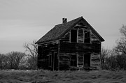 Old Houses Metal Prints - Black And White Forlorned Metal Print by Jeff  Swan