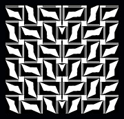 Op Art Digital Art Posters - Black and White Geometric  Art No.185. Poster by Drinka Mercep