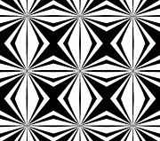 Op Art Digital Art Posters - Black and White Geometric Pattern Art No.291. Poster by Drinka Mercep