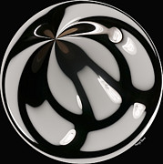 Surreal Images Photos - Black and White Glass Ball by Cheryl Young