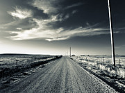 Gravel Road Posters - Black and White Gravel Poster by Eric Benjamin