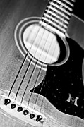 Hall Of Fame Band Posters - Black and White Harmony Guitar Poster by Athena Mckinzie