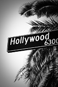 Los Angeles Art - Black and White Hollywood Street Sign by Paul Velgos