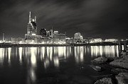 Downtown Nashville Framed Prints - Black and White image of Nashville TN Skyline  Framed Print by Jeremy Holmes