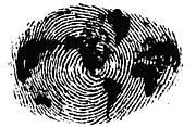 Sassan Filsoof Prints - black and white ink print poster One of a Kind Global Fingerprint Print by Sassan Filsoof