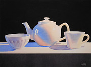 Teapot Paintings - Black and White by Jean Yates