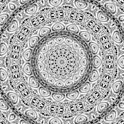 Mediate Prints - Black and White Kaleidoscope 01 Print by Roseann Caputo