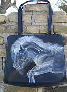 Artist Tapestries - Textiles Originals - Black and White Leather Horse Purse.  by Heather Grieb