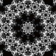 Repetition Prints - Black and White Medallion 1 Print by Angelina Vick