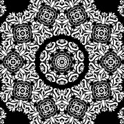 Repetition Prints - Black And White Medallion 10 Print by Angelina Vick