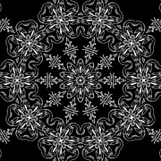 Ornate Designs And Medallions - Black and White Medallion 11 by Angelina Vick