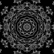 Rotation Mixed Media Posters - Black and White Medallion 2 Poster by Angelina Vick
