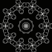 Repetition Prints - Black and White Medallion 3 Print by Angelina Vick