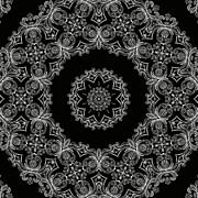 Repetition Prints - Black And White Medallion 6 Print by Angelina Vick