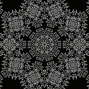 Ornate Designs And Medallions - Black and White Medallion 7 by Angelina Vick