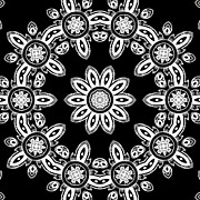 Rotation Mixed Media Posters - Black and White Medallion 8 Poster by Angelina Vick
