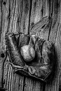 Worn Leather Metal Prints - Black and White Mitt Metal Print by Garry Gay