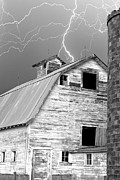 Contry Prints - Black and white Old Barn Lightning Strikes Print by James Bo Insogna