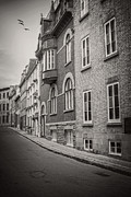 Quebec Metal Prints - Black and white old style photo of Old Quebec City Metal Print by Edward Fielding