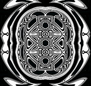 Op Art Digital Art Posters - Black and White Ornament Pattern Art No.297. Poster by Drinka Mercep