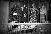 Apparel Framed Prints - Black and White Outdoor Clothing Display Framed Print by Randall Nyhof
