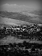 Prescott Photos - Black and White Peaks Over Prescott Homes by Aaron Burrows