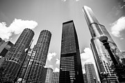 Chicago Black White Posters - Black and White Photo of Chicago Skyscrapers Poster by Paul Velgos