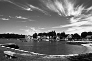 E Black Framed Prints - Black and White Photo Park Bench Stony Creek Harbor Connecticut Framed Print by Robert Ford