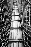 Black And White Photograph Of  Posters - Black And White Photograph Of A Suspension Bridge  Poster by Falko Follert