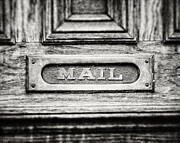 Foyer Posters - Black and White Photograph of Vintage Mail Slot Poster by Lisa Russo