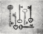 Foyer Posters - Black and White Photograph of Vintage Skeleton Keys for Rustic Home Decor Poster by Lisa Russo