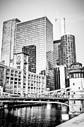 Lasalle Street Bridge Prints - Black and White Picture of Chicago at LaSalle Bridge Print by Paul Velgos