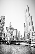 Airlines Posters - Black and White Picture of Chicago River Architecture Poster by Paul Velgos
