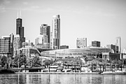 Chicago Bears Framed Prints - Black and White Picture of Chicago Skyline Framed Print by Paul Velgos