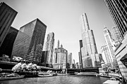 United Airlines Posters - Black and White Picture of Downtown Chicago Poster by Paul Velgos