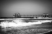Black And White Picture Of Huntington Beach Pier Print by Paul Velgos