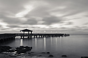 Sand Key Framed Prints - Black and White Pier Framed Print by Scott Meyer
