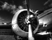 Plane Engine Photos - Black and White Plane Engine by Thomas Young