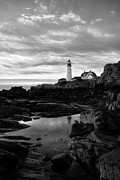 Portland Lighthouse Framed Prints - Black And White Portland Framed Print by Emily Stauring