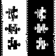 Film Look Prints - Black And White Puzzles digital painting Print by Georgeta Blanaru