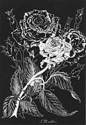 Featured Drawings Prints - Black And White Roses Print by Terri Maddin-Miller