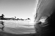 Black And White Santa Cruz Wave Print by Paul Topp