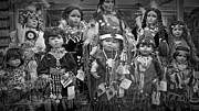 Apparel Framed Prints - Black and White Shop Display of American Indian dolls Framed Print by Randall Nyhof