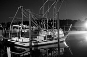 Shrimp Boat Prints - Black and White Shrimp Print by Michael Thomas