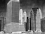 Skylines Metal Prints - Black and White Skyline Metal Print by Kathy Jennings